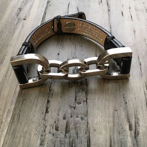 Express Leather Chain Link Bracelet